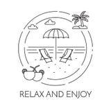 Bandeira horizontal de viagem com linha arte da praia, da palma e dos cocktail ilustração do vetor
