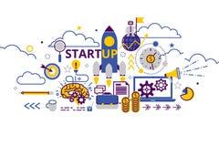 Bandeira horizontal do conceito Startup do negócio na linha lisa escada Ilustração criativa do vetor com muitos ícones do negócio Foto de Stock Royalty Free