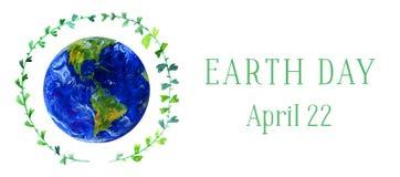 Bandeira horizontal do Dia da Terra Planeta da terra no círculo verde do galho Ilustração tirada mão da aguarela Fotos de Stock