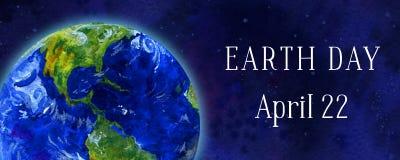 Bandeira horizontal do Dia da Terra Planeta da terra no espaço Ilustração tirada mão da aguarela Fotos de Stock Royalty Free