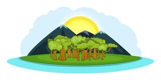 Bandeira horizontal, estilo da paisagem da natureza dos desenhos animados Foto de Stock