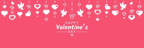 Bandeira horizontal feliz das felicitações de Valentine Day ou do casamento com os vários símbolos do amor que penduram em fitas ilustração do vetor