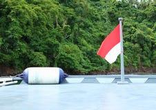Bandeira indonésia no barco imagem de stock royalty free