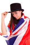 Bandeira inglesa da menina isolada no fundo branco Grâ Bretanha Imagens de Stock