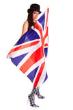 Bandeira inglesa da menina isolada no fundo branco Grâ Bretanha Imagem de Stock Royalty Free
