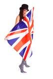 Bandeira inglesa da menina isolada no fundo branco Grâ Bretanha Imagem de Stock