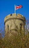 Bandeira inglesa no castelo, parede, nação Fotos de Stock