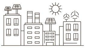 Bandeira inteligente da cidade do eco, estilo do esboço ilustração royalty free