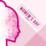 Bandeira internacional do dia das mulheres com projeto poli do vetor do sinal da cara da mulher do sumário baixo ilustração stock