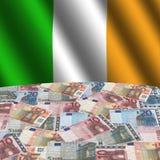 Bandeira irlandesa com euro Imagem de Stock Royalty Free