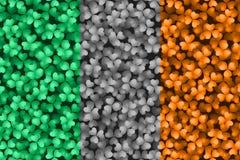 Bandeira irlandesa nos trevos Fotos de Stock
