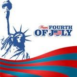 Bandeira isolada 4o julho, silhueta da bandeira da estátua da liberdade Foto de Stock