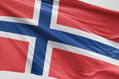 Bandeira isolada que acena, bandeira realística de Noruega de 3D Noruega rendida Fotos de Stock