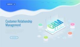 Bandeira isométrica da Web de CRM Conceito do gerenciamento de relacionamento com o cliente Ilustração do vetor da tecnologia do  ilustração do vetor