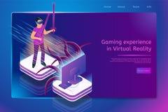 Bandeira isométrica da Web do serviço online virtual do jogo ilustração stock
