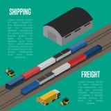 Bandeira isométrica do frete do transporte ilustração stock