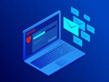 Bandeira isométrica do Web site da proteção do email, anti-malware software Ataque do Spamming do email Software do Antivirus, an ilustração do vetor