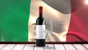 Bandeira italiana com vinho e vidro filme