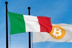 Bandeira italiana e bandeira de Bitcoin Fotografia de Stock