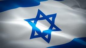 Bandeira judaica que acena nas imagens de vídeo HD completo do vento Fundo judaico realístico da bandeira Israel Flag Looping C