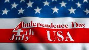 bandeira 4K Dia da Independência do 4 de julho, acenando no vento ilustração stock