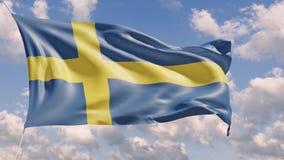 bandeira 4K nacional da Suécia que lisonjeia que aumenta com fundo do céu vídeos de arquivo