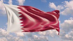 bandeira 4K nacional de Catar que lisonjeia que aumenta com fundo do céu filme