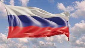 bandeira 4K nacional de Rússia que lisonjeia que aumenta com fundo do céu filme