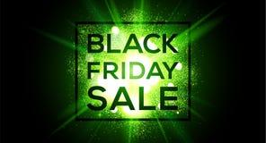 Bandeira larga do vetor da venda de Black Friday no fundo instantâneo verde ilustração stock