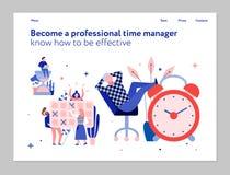 Bandeira lisa da gestão de tempo ilustração stock