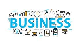 Bandeira lisa do estilo da palavra do negócio com linha fina ícones Fotografia de Stock