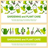 Bandeira lisa do projeto para a jardinagem e o cuidado da planta ilustração do vetor