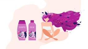 Bandeira lisa do vetor do anúncio de produtos dos cosméticos das mulheres ilustração stock