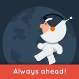 Bandeira lisa do vetor do estilo com o astronauta engraçado pequeno que anda na terra Imagem de Stock