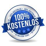 Bandeira livre do botão do crachá de 100% - Alemão-tradução: kostenlos de 100% ilustração do vetor