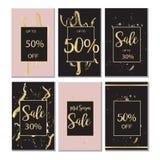 Bandeira luxuosa preta da venda do verão, cor-de-rosa e do ouro, para o cartaz do disconto, venda da forma, fundos, no vetor Imagem de Stock Royalty Free