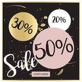 Bandeira luxuosa preta da venda do verão, cor-de-rosa e do ouro, para o cartaz do disconto, venda da forma, fundos, no vetor Fotografia de Stock