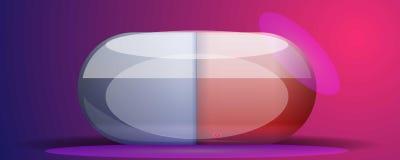 Bandeira médica do conceito da cápsula, estilo dos desenhos animados ilustração do vetor