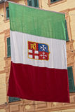 Bandeira marinha italiana da república Foto de Stock