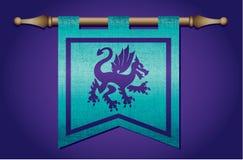 Bandeira medieval com emblema do dragão Fotos de Stock Royalty Free