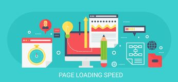 Bandeira moderna lisa da velocidade da carga da página do conceito do vetor com ícones e texto Imagens de Stock