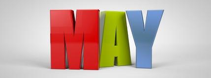 A bandeira multicolorido do texto do mês de calendário de maio, 3d rende ilustração royalty free