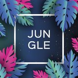 Bandeira na moda da selva de Monstera Folhas de palmeira tropicais cortadas papel, plantas exotic hawaiian Espaço para o texto Fr ilustração do vetor
