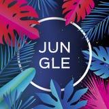 Bandeira na moda da selva Folhas de palmeira tropicais cortadas papel, plantas exotic hawaiian Espaço para o texto Quadro do círc ilustração royalty free