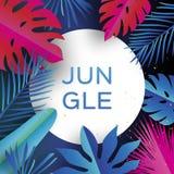 Bandeira na moda da selva Folhas de palmeira tropicais cortadas papel, plantas exotic hawaiian Espaço para o texto Quadro do círc ilustração do vetor