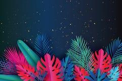 Bandeira na moda do molde da venda do verão Folhas de palmeira tropicais da arte de papel, plantas ilustração stock