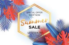 Bandeira na moda do molde da venda do verão Folhas de palmeira tropicais da arte de papel, plantas exotic hawaiian Espaço para o  ilustração do vetor