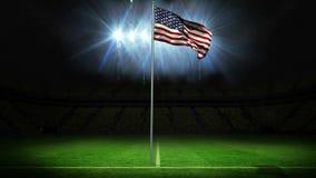 Bandeira nacional americana que acena no mastro de bandeira ilustração stock