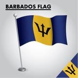Bandeira nacional da bandeira de Barbados de Barbados em um polo ilustração do vetor