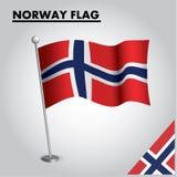 Bandeira nacional da bandeira de NORUEGA de NORUEGA em um polo ilustração stock